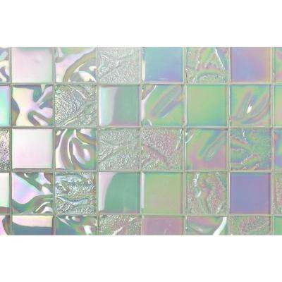 Marina Iridescent White Squares 12  in. x 12  in. 8 mm Polished Glass Wall Tile(1  sq. ft.)