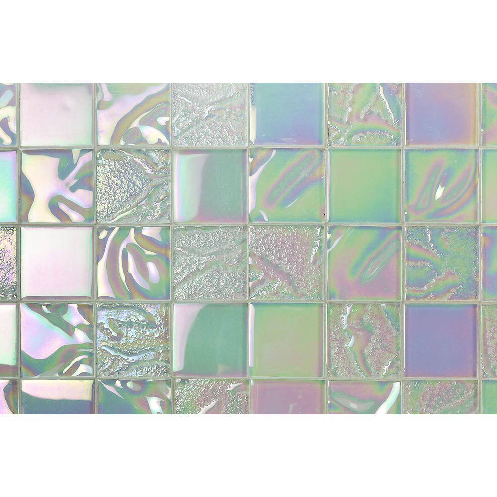 Ivy Hill Tile Marina Iridescent White Squares 12 In X 8 Mm Polished Gl Wall 1 Sq Ft