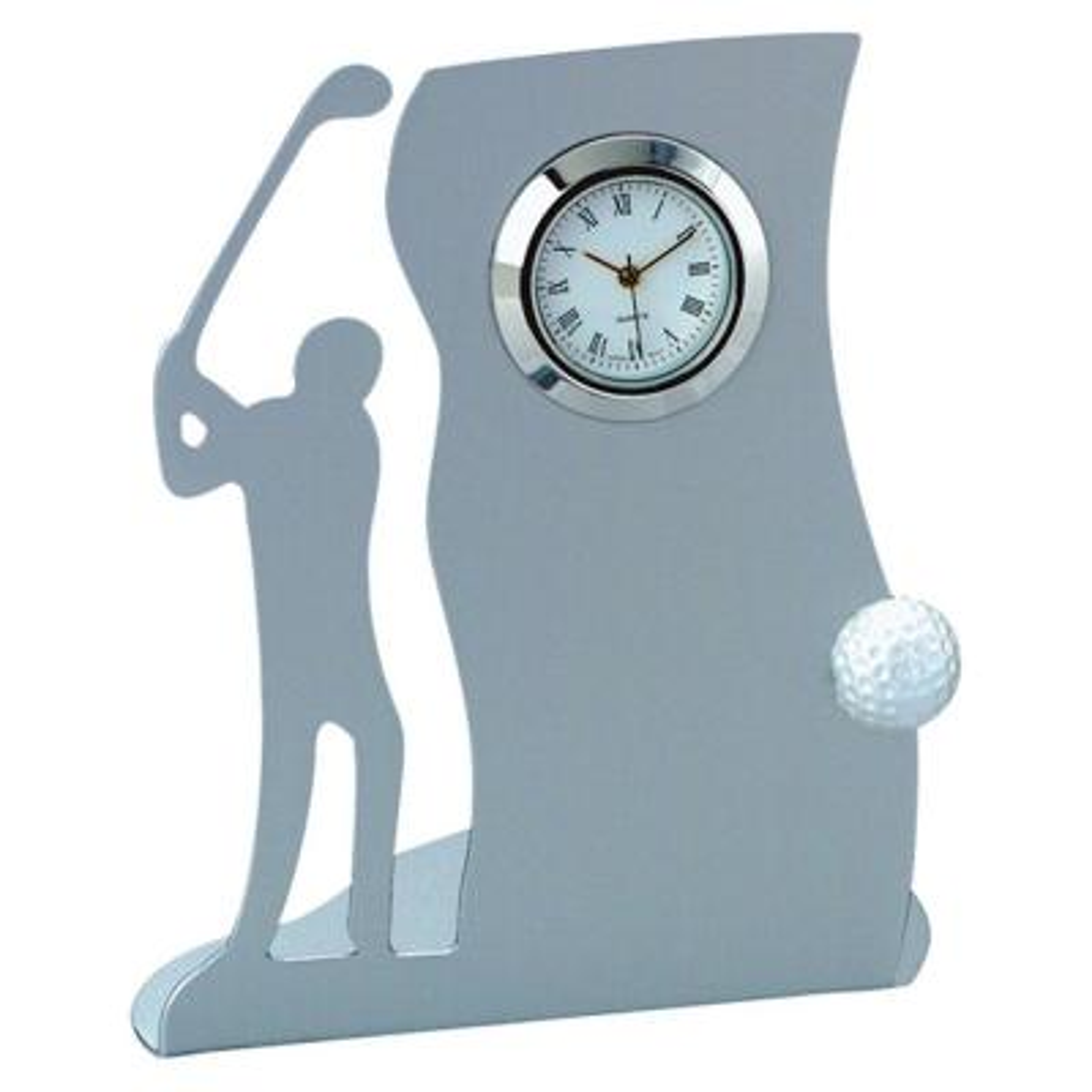 Chrome Drive Golf Themed Metal Desk Clock