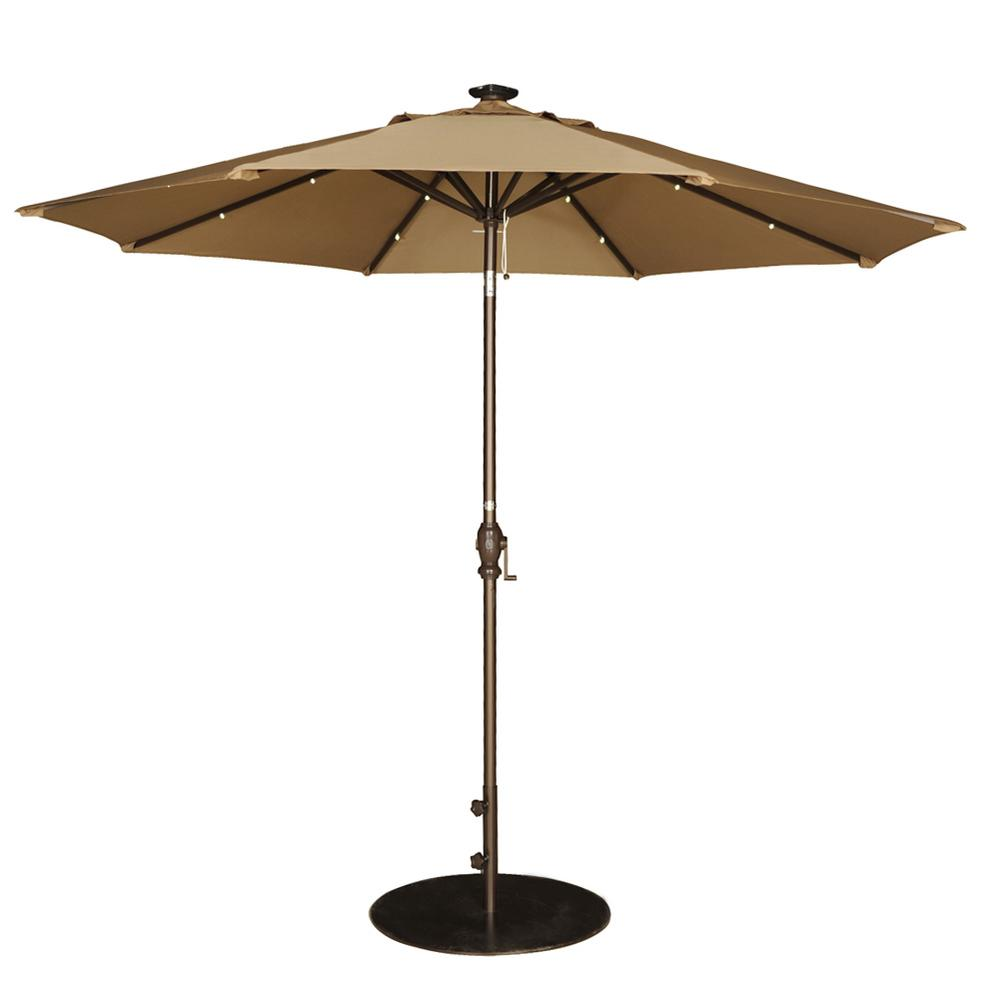 Abba Patio 9 Ft Market Outdoor Umbrella With Tilt And Crank Patio Umbrella With Solar Powered 24 Led Lights In Brown