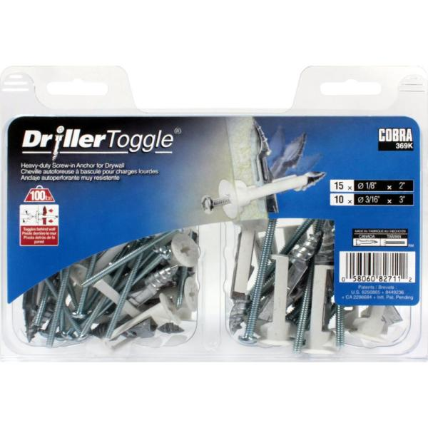 """2x Driller Toggle Screw In Wall Anchor for Drywall 1//8/"""" x 2/"""" 90LB Zinc//Nylon"""