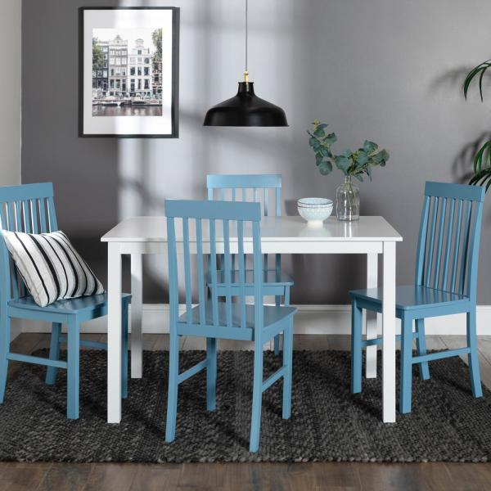 Walker Edison Furniture Company 5 Piece Modern Dining Set White Powder Blue Hdw485pcpb The Home Depot