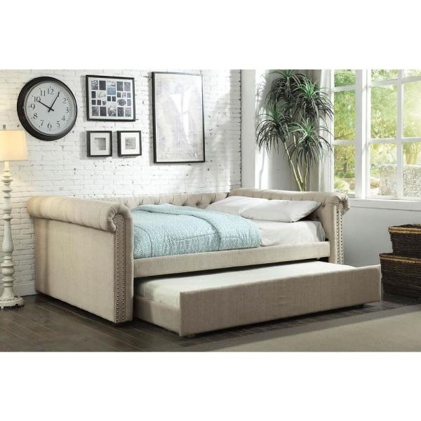 William S Home Furnishing Leanna Upholstered Beige Queen Size