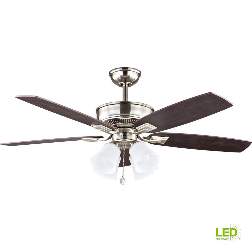 hampton bay devron 52 in led indoor brushed nickel ceiling fan with light kit 57233 the home. Black Bedroom Furniture Sets. Home Design Ideas