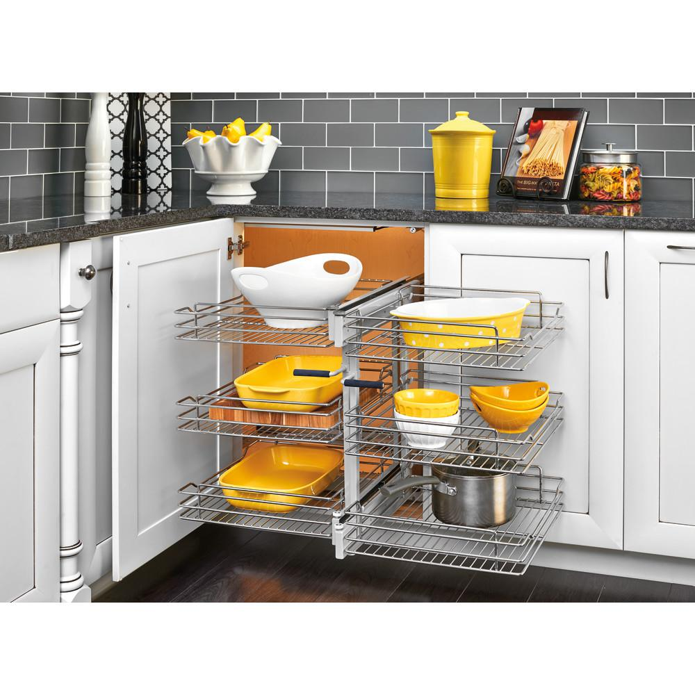 rev a shelf 18 in corner cabinet pull out chrome 3 tier wire basket rh homedepot com kitchen cabinet pull out shelf kitchen base cabinet pull out shelves