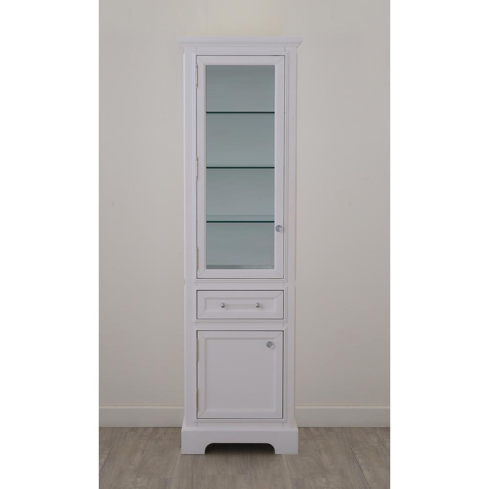 Derby 21 in. W x 17 in. D x 72 in. H Free Standing Linen Cabinet in White