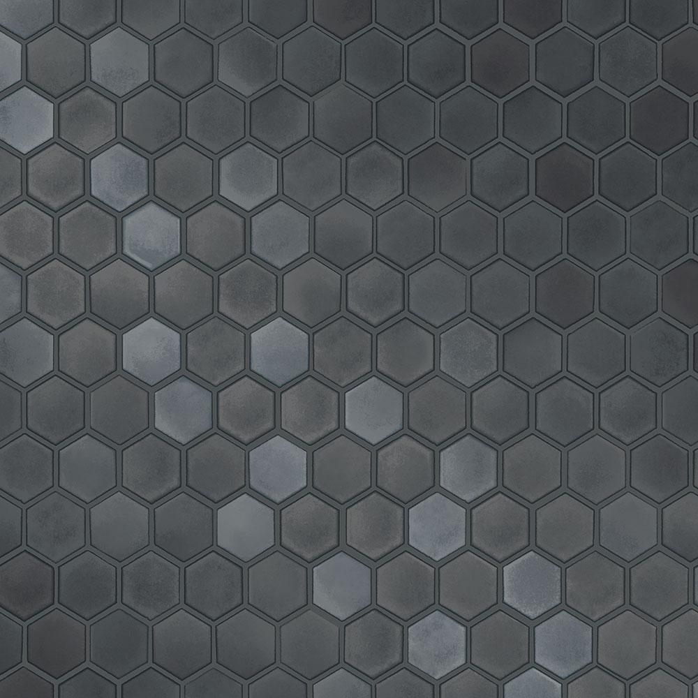 Hexagon Tiles Gunmetal Peel and Stick Wallpaper 56 sq. ft.