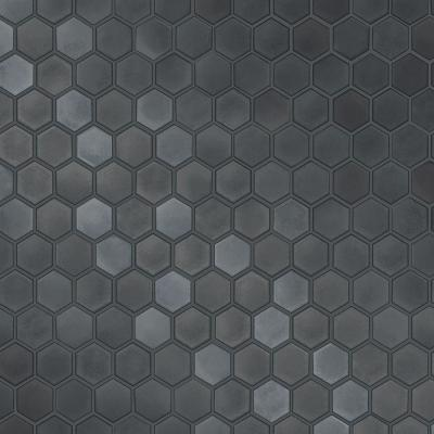 Hexagon Tiles Gunmetal Peel and Stick Wallpaper 56 sq. ft.