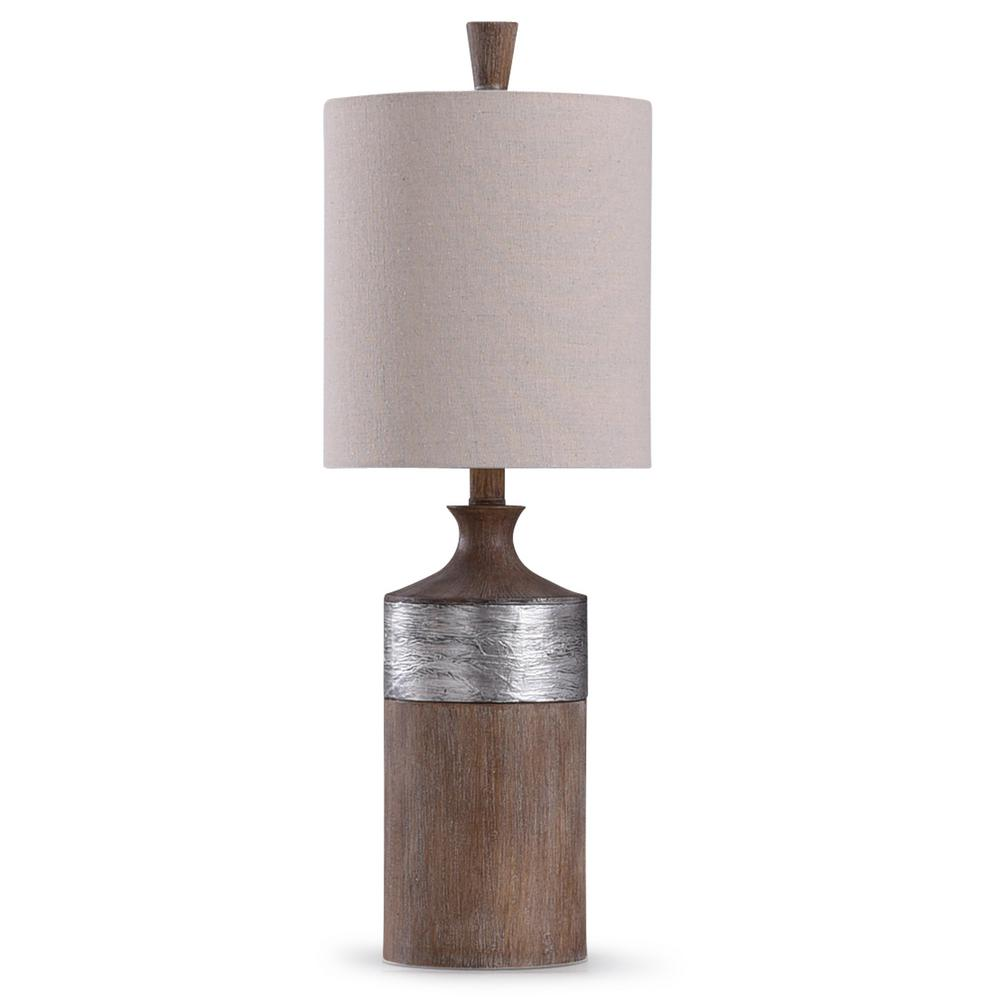 Stylecraft Darley 26 In Wood And Silver Table Lamp L29903ds The Home Depot