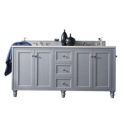 Copper Cove Encore 72 in. W Double Vanity in Silver Gray with Marble Vanity Top in Carrara White with White Basin
