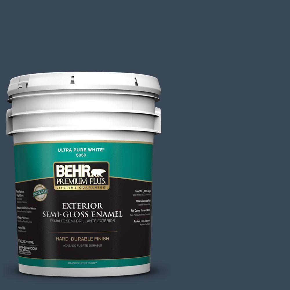 BEHR Premium Plus 5-gal. #PPF-58 Dark Night Semi-Gloss Enamel Exterior Paint