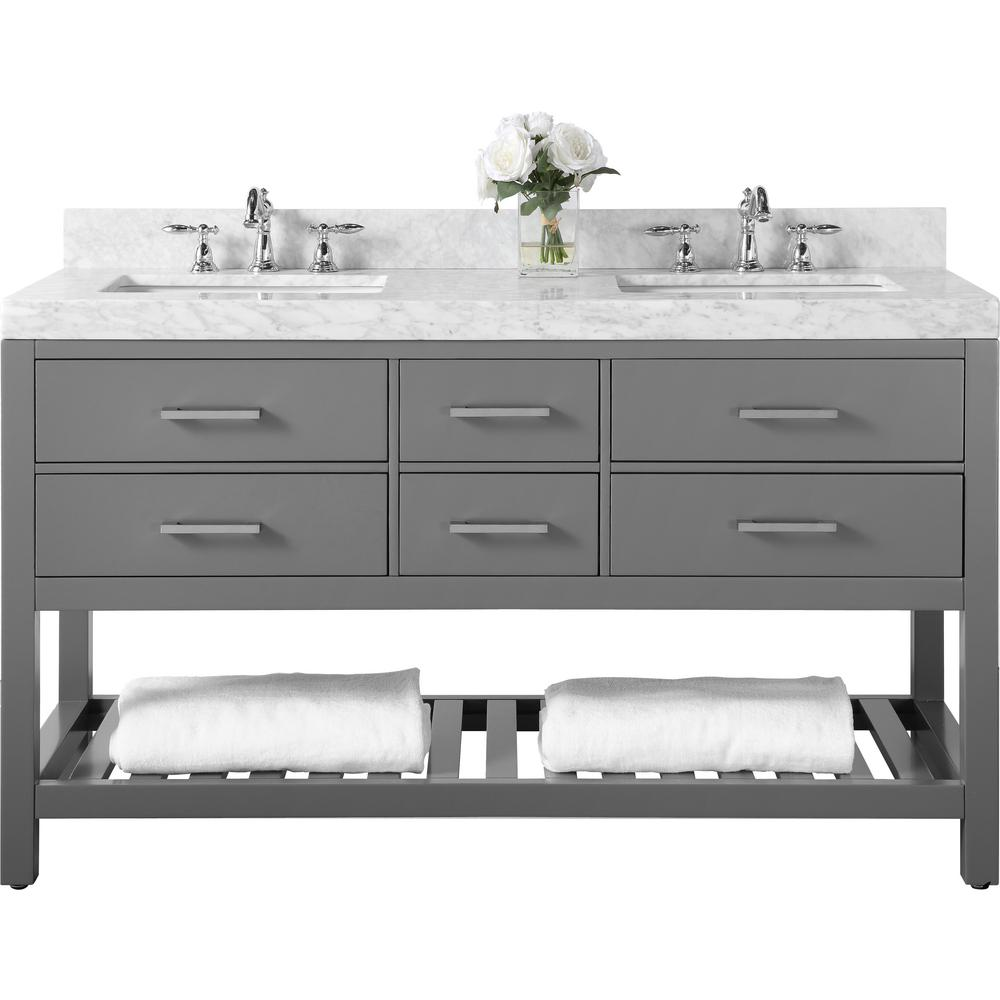 Ancerre Designs Elizabeth 60 in. W x 22 in. D Vanity in Sapphire Gray with Marble Vanity Top in Carrara White with White Basins