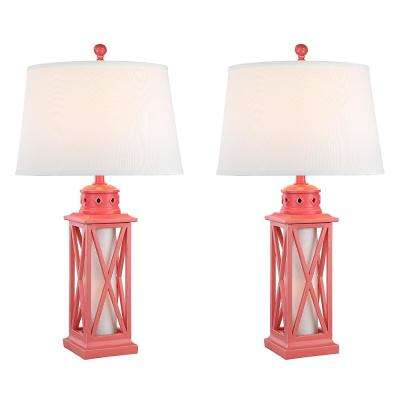 30.5 in. Coral Indoor Table Lamp Set