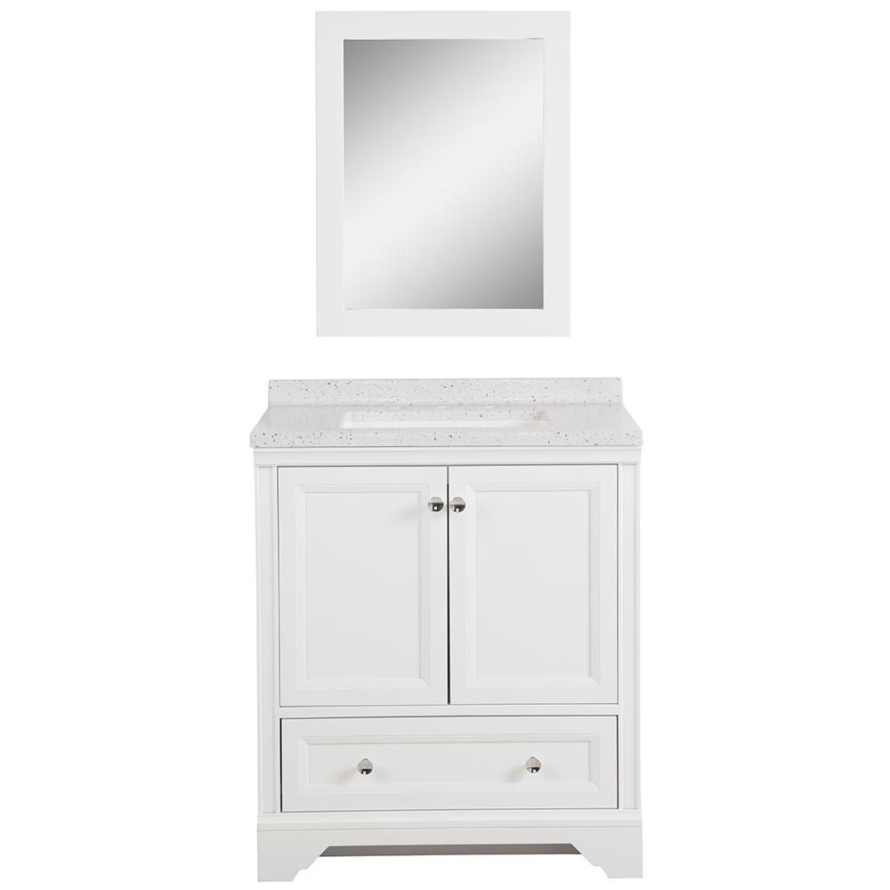 Home Decorators Collection Stratfield 30 5 In W Bath Vanity In White With Solid Surface Vanity Top In Silver Ash With White Basin And Mirror