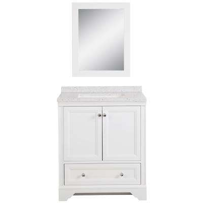Stratfield 30.5 in. W Bath Vanity in White with Solid Surface Vanity Top in Silver Ash with White Basin and Mirror