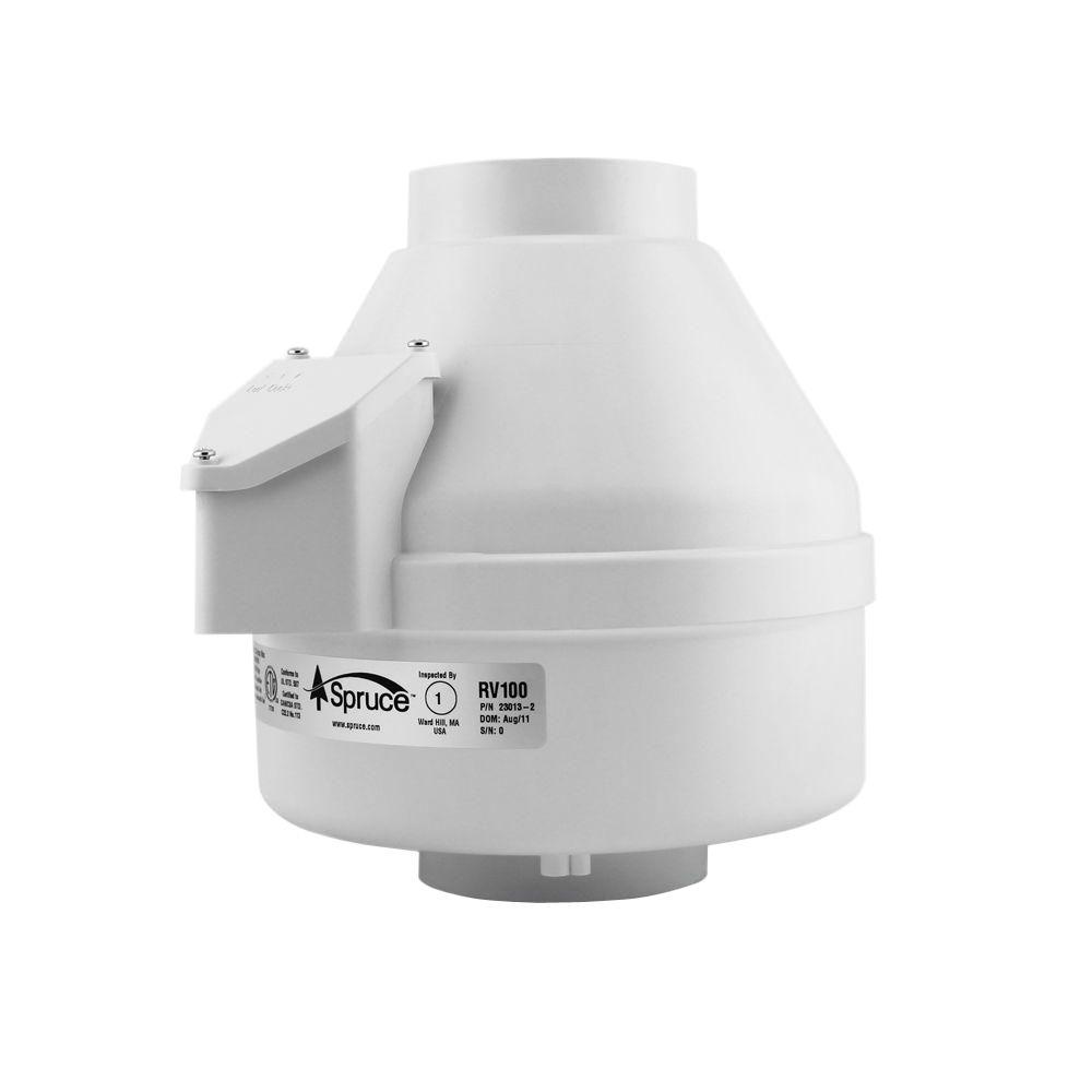 Spruce 100 CFM White Powered 4 in. Inline Duct Fan