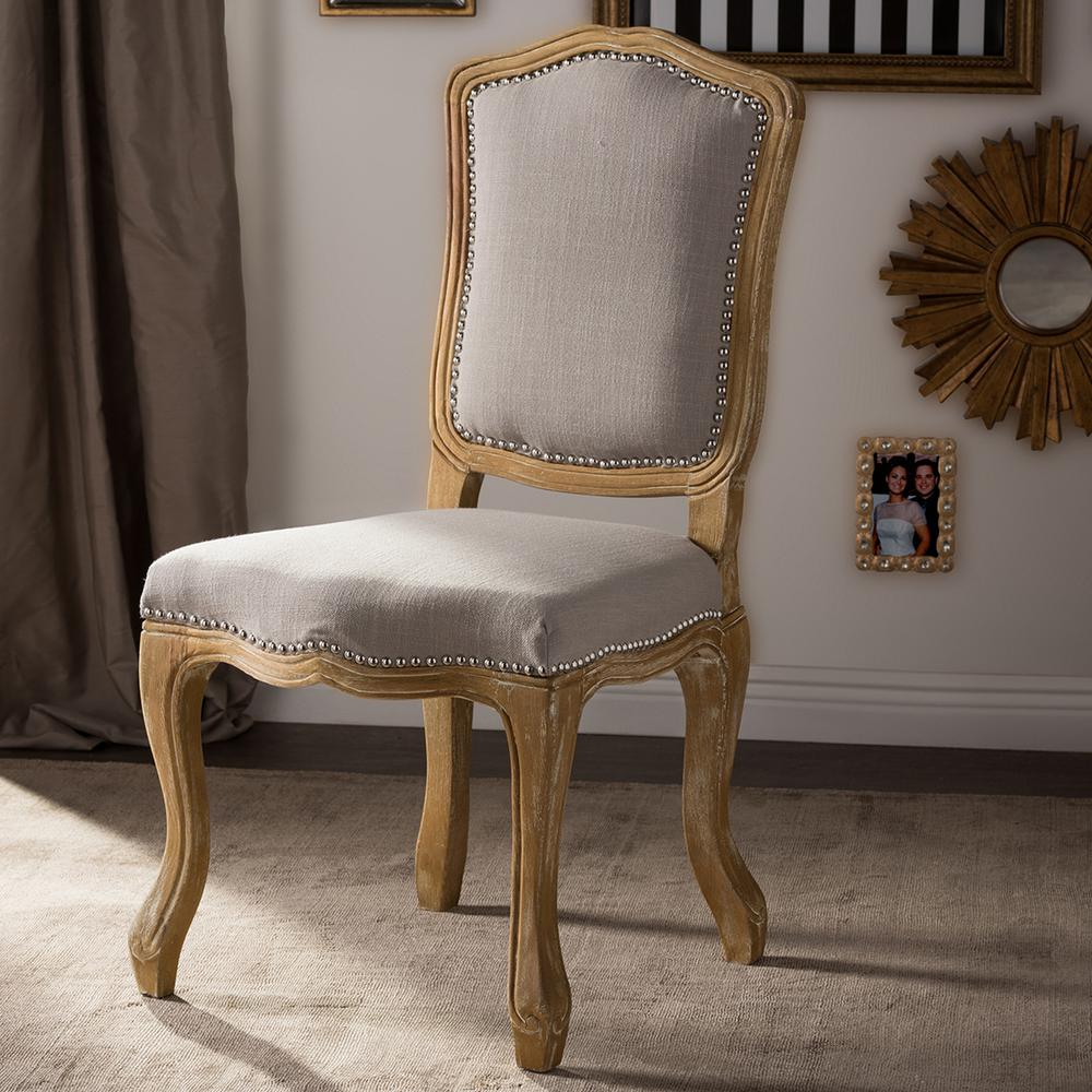 Upholstery For Dining Room Chairs: Baxton Studio Chateauneuf Beige Fabric Upholstered Dining