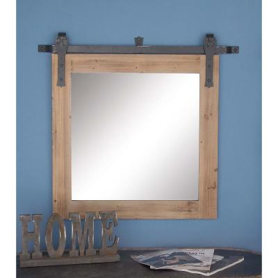31 in. x 34 in. Brown Wooden Wall Mirror
