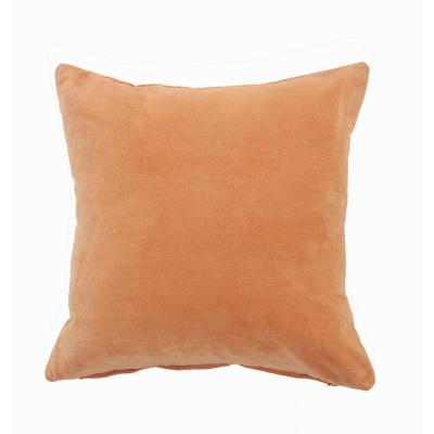 Wisdom Peach Light Orange Solid Soft Poly-Fill 20 in. x 20 in. Throw Pillow