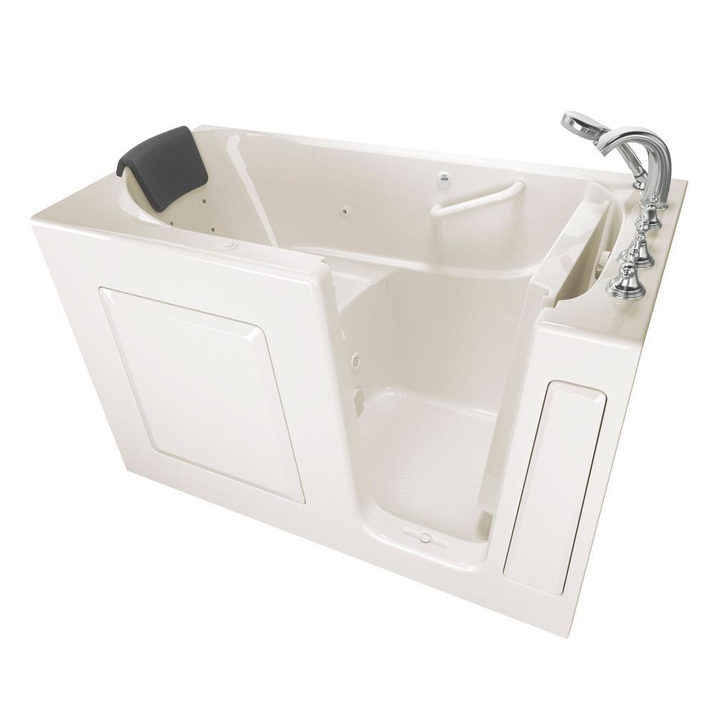 Gelcoat Premium Series 60 in. Right Hand Walk-In Whirlpool Bathtub in Linen