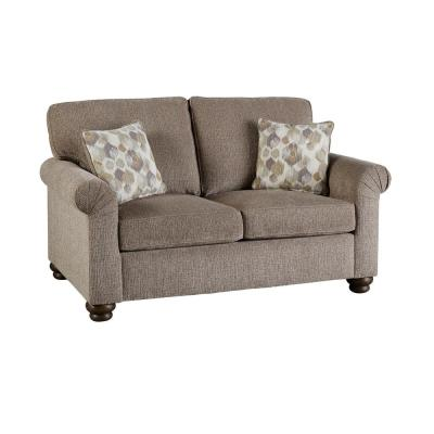 Aubrey 38 in. Pewter Polyester 2-Seater Loveseat with Round Arms