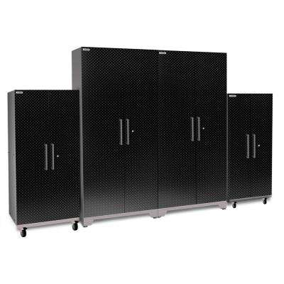 Performance Plus Diamond Plate 2.0 80 in. H x 128 in. W x 24 in. D Black Garage Cabinet Set (4-Piece)