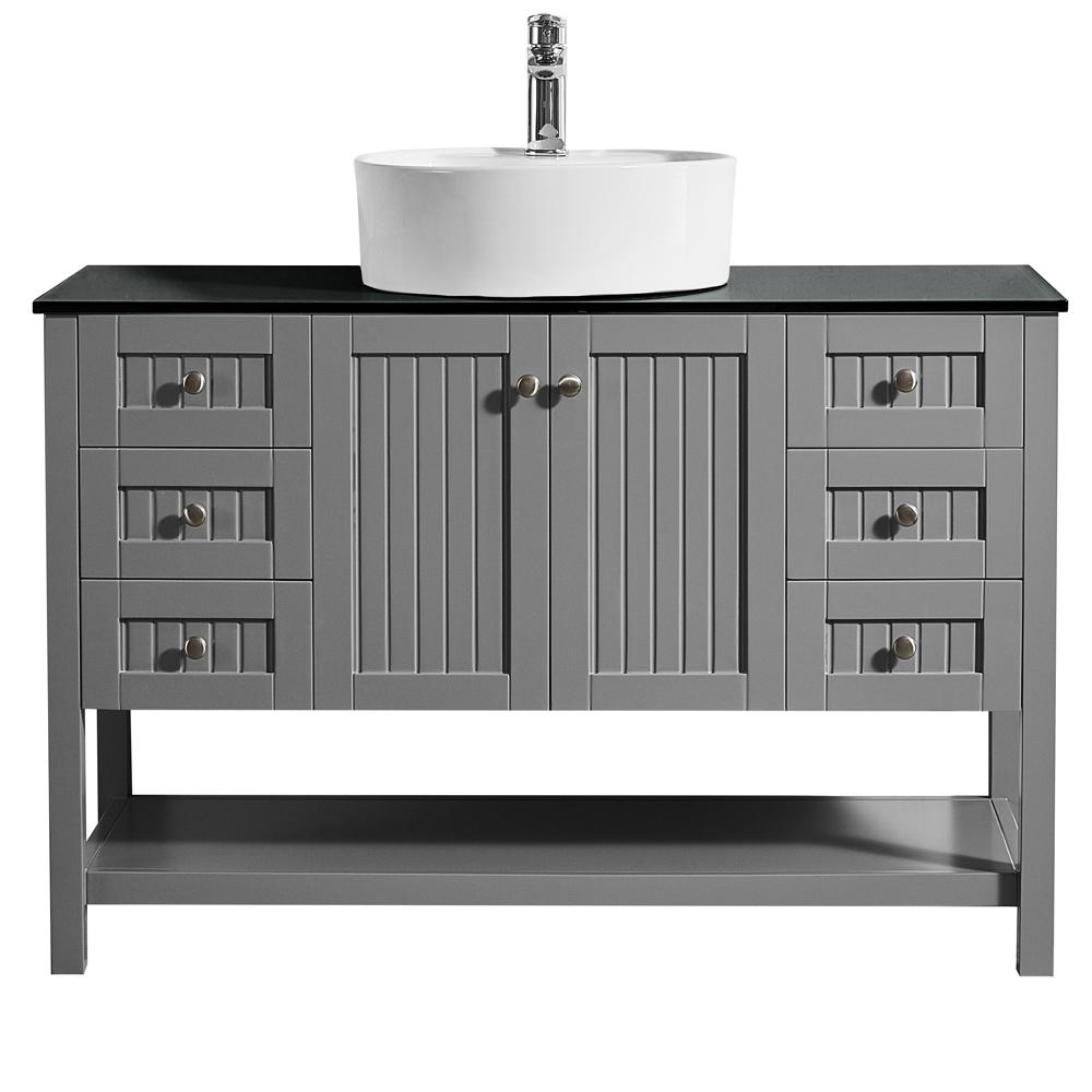 ROSWELL Modena 48 in. W x 18 in. D Vanity in Grey with Glass Vanity Top in Black with White Basin