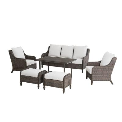 Windsor 6-Piece Wicker Patio Conversation Set with Beige Cushions