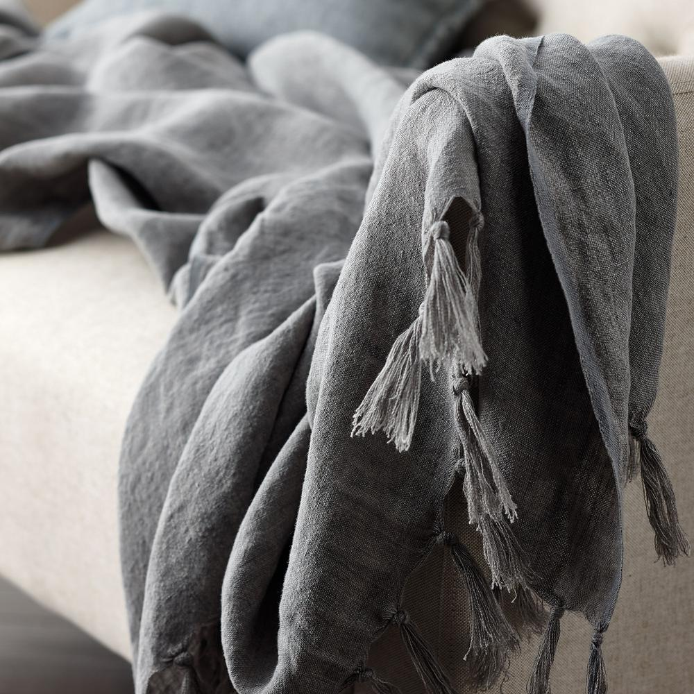 The Company Store Belgium Linen Gray Fringed Throw