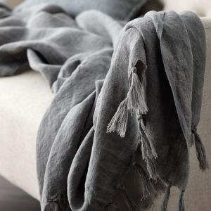 Belgium Linen Gray Fringed Throw