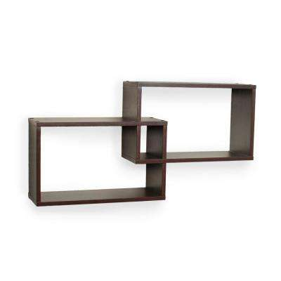 26 in. x 6 in. Intersecting Rectangular Shelves in Walnut (2-Box)