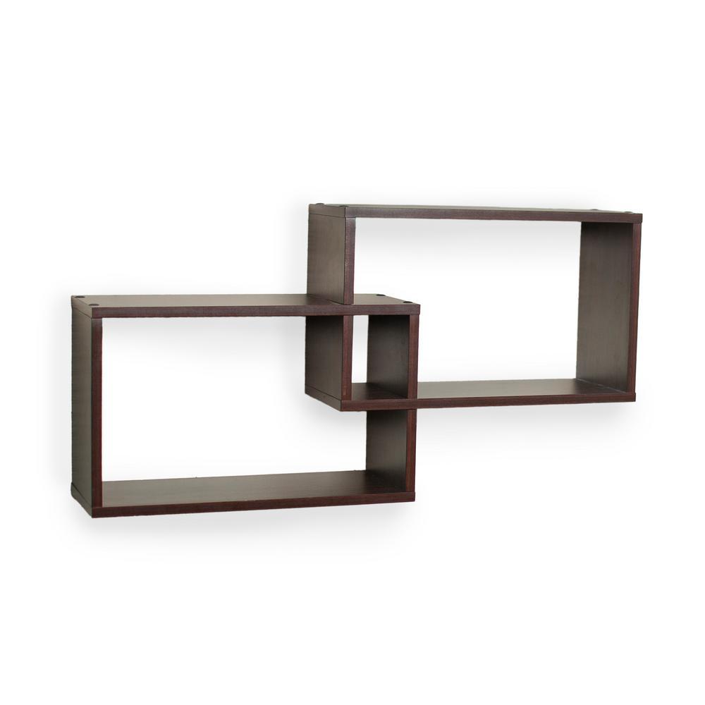 DANYA B 26 in. x 6 in. Intersecting Rectangular Shelves in Walnut (2-Box)