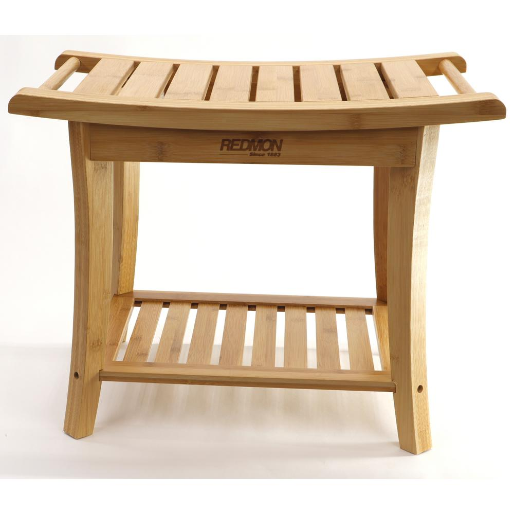 Redmon Bamboo Shower Bench With Side Handles