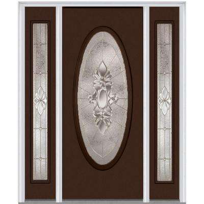 64 in. x 80 in. Heirloom Master Right-Hand Inswing Oval Lite Decorative Painted Steel Prehung Front Door with Sidelites