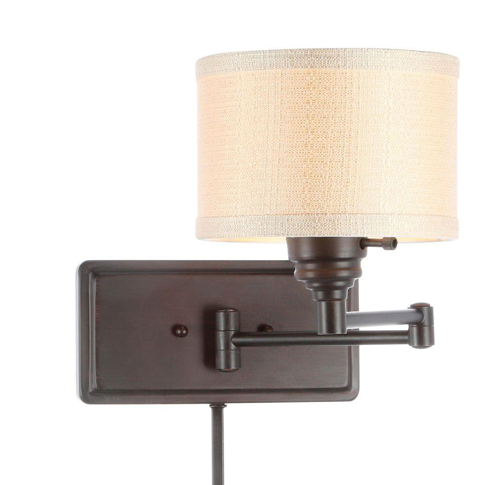 hampton bay brookhaven 1-light bronze swing arm sconce with fabric