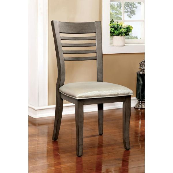 DWIGHT III Gray and Silver Transitional Style Side Chair CM3988GY-SC-2PK