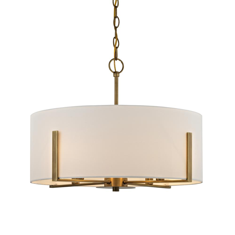 Home Decorators Collection Manhattan 4-Light Aged Brass Chandelier with Cream Colored Drum Shade