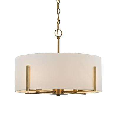 Manhattan 4-Light Aged Brass Chandelier with Cream Colored Drum Shade