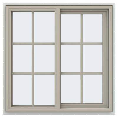 35.5 in. x 35.5 in. V-4500 Series Desert Sand Vinyl Right-Handed Sliding Window with Colonial Grids/Grilles