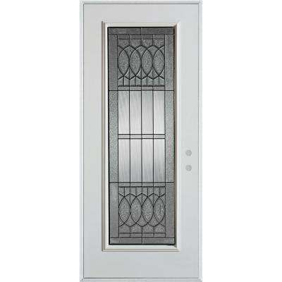 37.375 in. x 82.375 in. Nightingale Patina Full Lite Painted White Left-Hand Inswing Steel Prehung Front Door