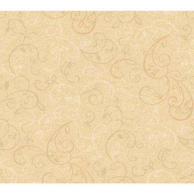 Scroll Yellow Wallpaper Home Decor The Home Depot