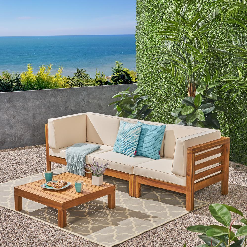 Jonah Teak Finish 2-Piece Wood Patio Deep Seating Set with Beige Cushions - 3 Seater Sofa, Coffee Table