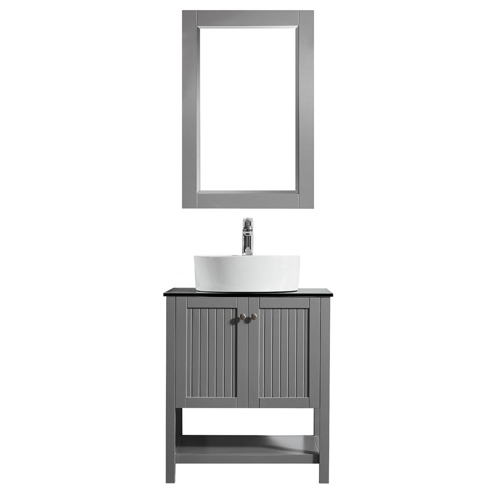ROSWELL Modena 28 in. W x 18 in. D Vanity in Grey with Glass Vanity Top in Black with White Basin and Mirror