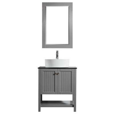 Modena 28 in. W x 18 in. D Vanity in Grey with Glass Vanity Top in Black with White Basin and Mirror
