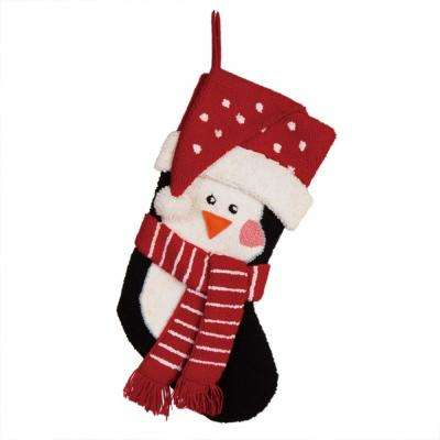 19 in. L 3D Penguin Hooked Stocking