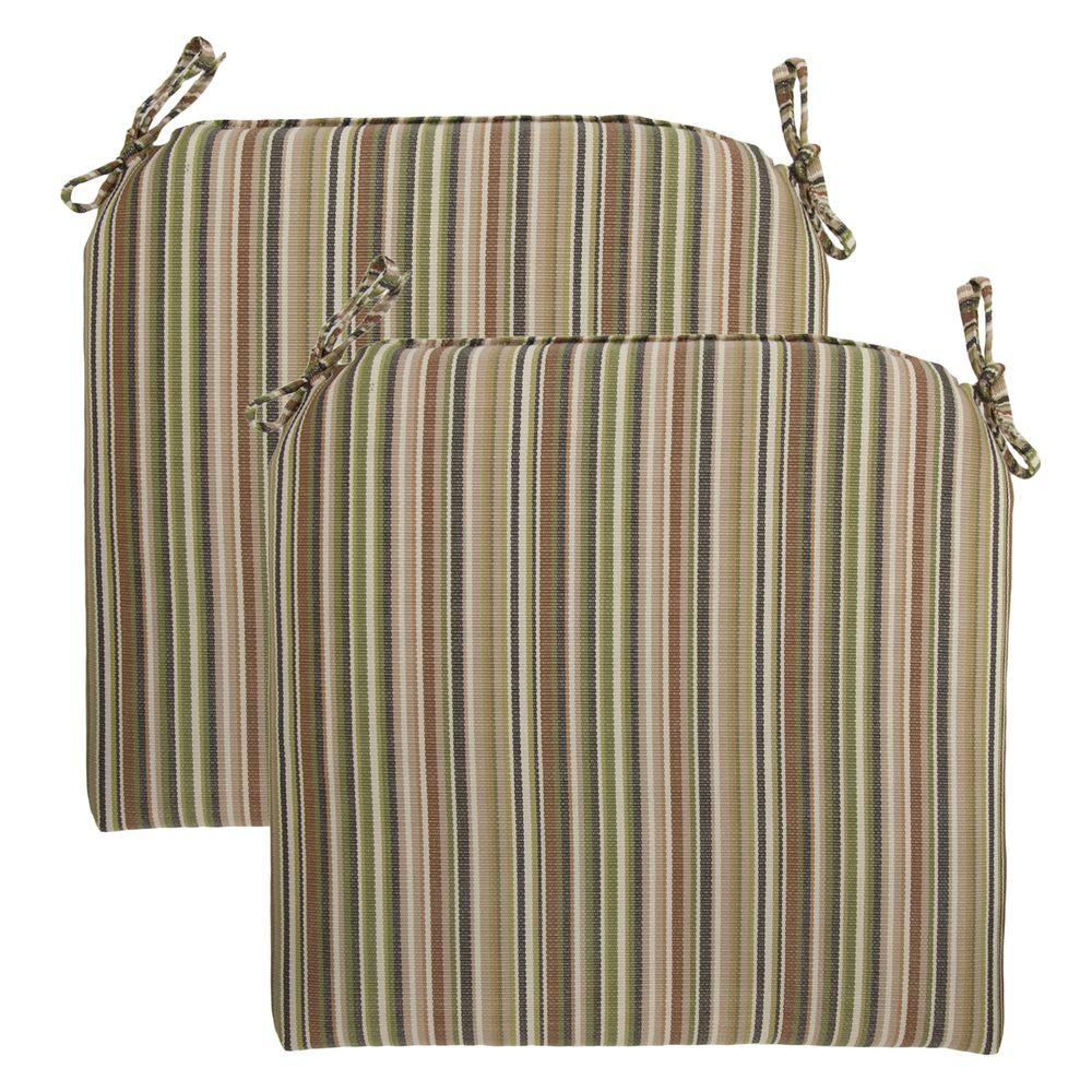 Hampton Bay Green Stripe Rapid-Dry Deluxe Outdoor Seat Cushion (2-Pack)