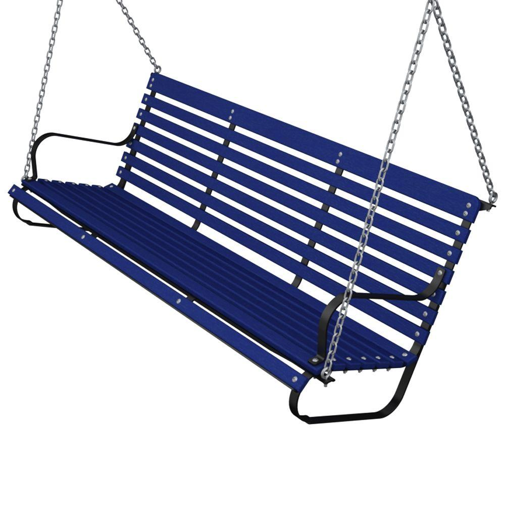 Ivy Terrace 60 in. Black and Pacific Blue Patio Swing-DISCONTINUED