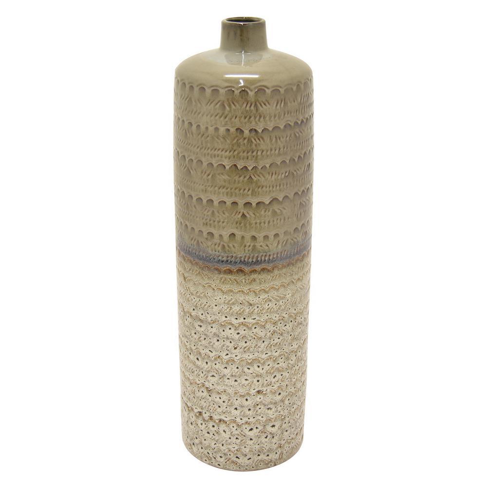 24 in. Porcelain Gray Ceramic Vase