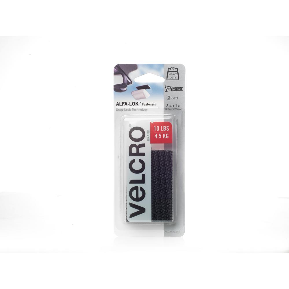 VELCRO Brand ALFA-LOK 3 in. x 1 in. Strips in Black (2-Sets per Pack)