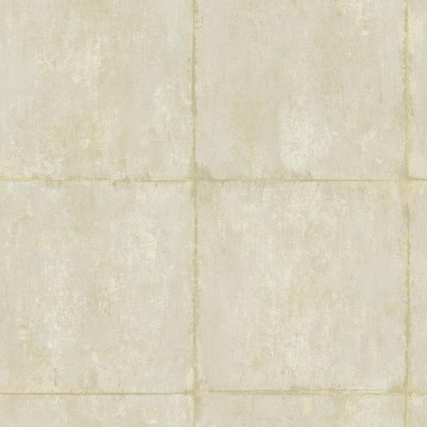 Seabrook Designs Great Wall Metallic Gold and Off-White Block Wallpaper AI42103